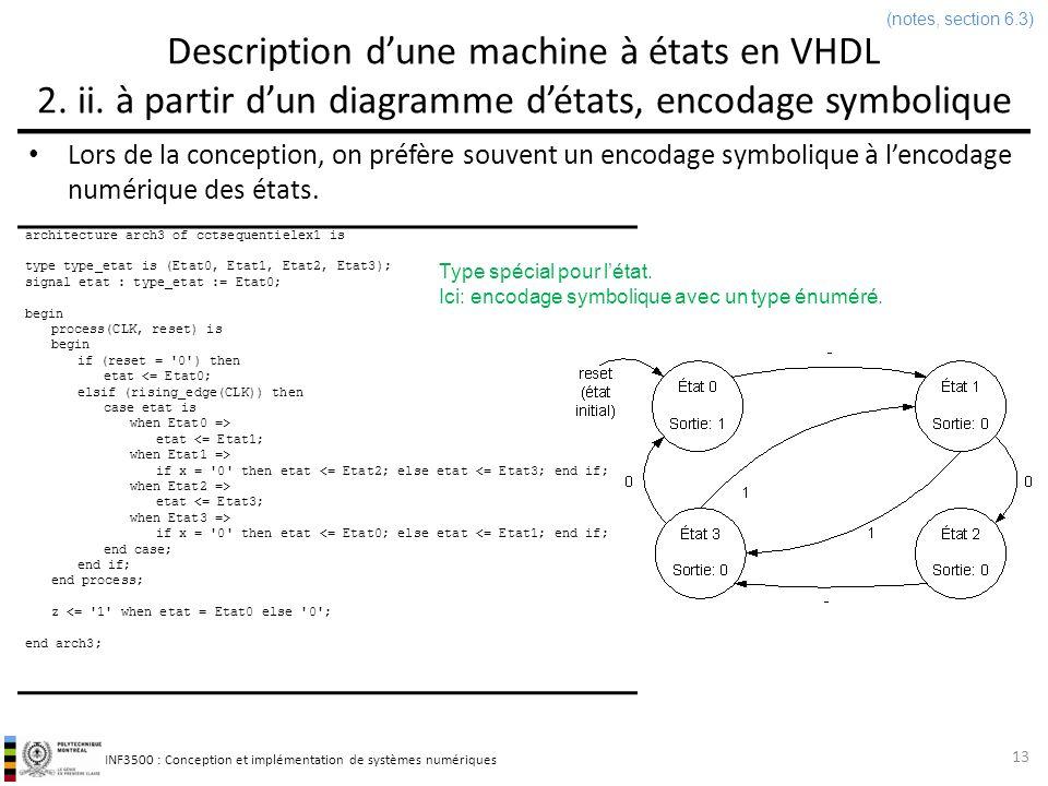 (notes, section 6.3) Description d'une machine à états en VHDL 2. ii. à partir d'un diagramme d'états, encodage symbolique.