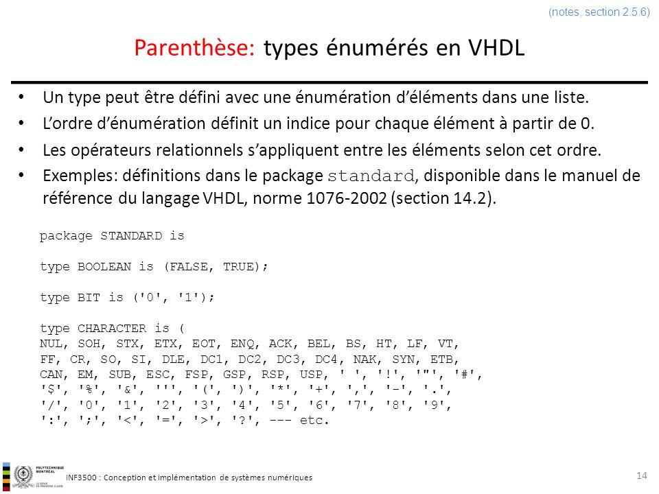 Parenthèse: types énumérés en VHDL