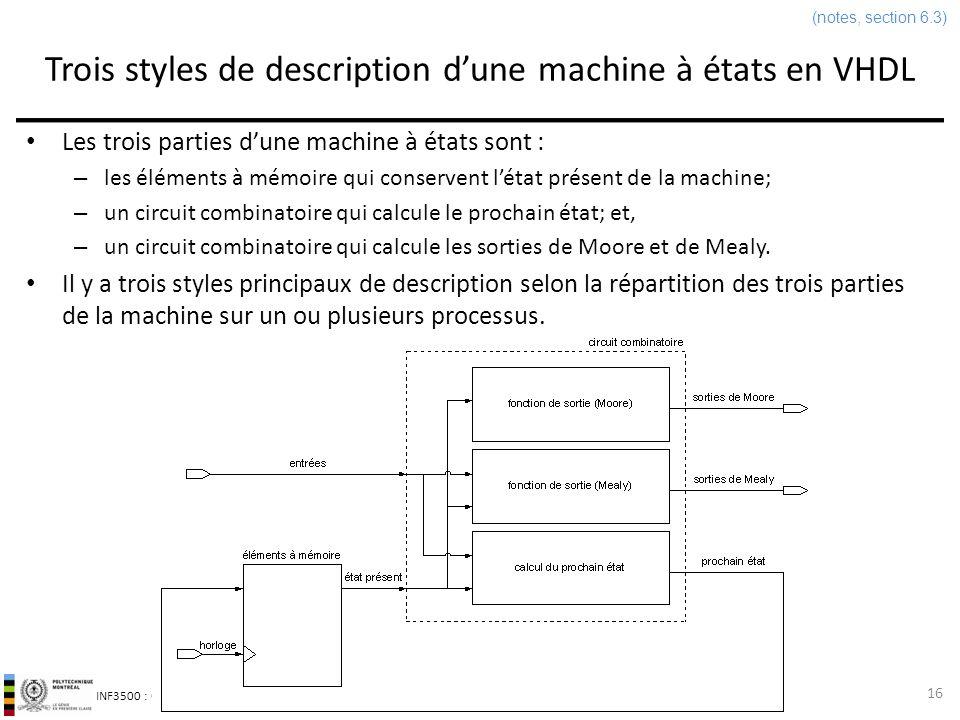 Trois styles de description d'une machine à états en VHDL