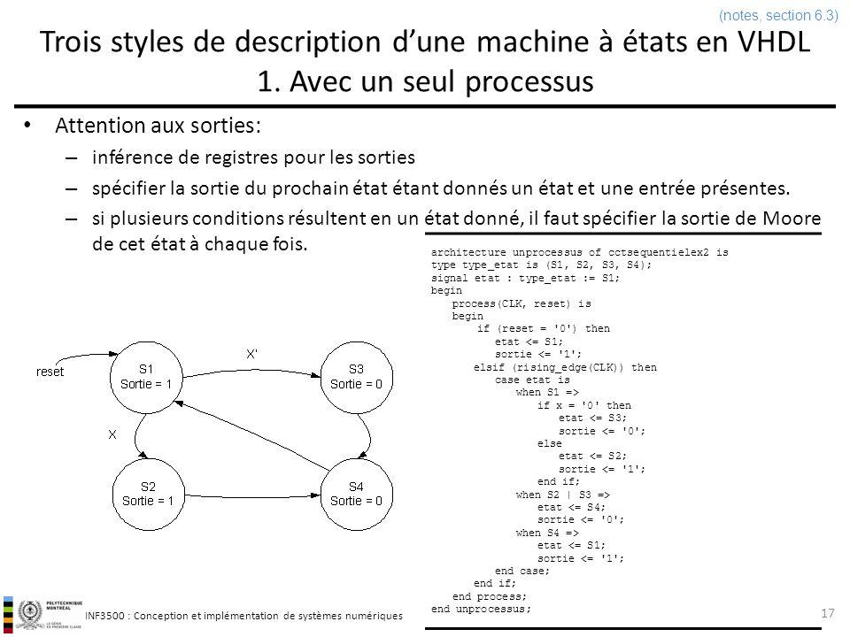 (notes, section 6.3) Trois styles de description d'une machine à états en VHDL 1. Avec un seul processus.