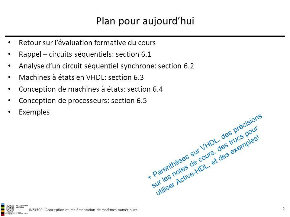 Plan pour aujourd'hui Retour sur l'évaluation formative du cours