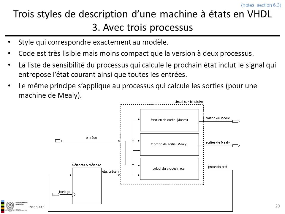 (notes, section 6.3) Trois styles de description d'une machine à états en VHDL 3. Avec trois processus.