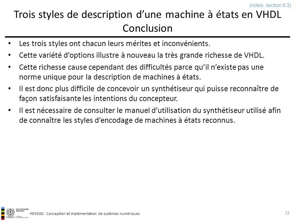 Trois styles de description d'une machine à états en VHDL Conclusion