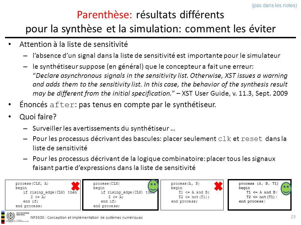 (pas dans les notes) Parenthèse: résultats différents pour la synthèse et la simulation: comment les éviter.