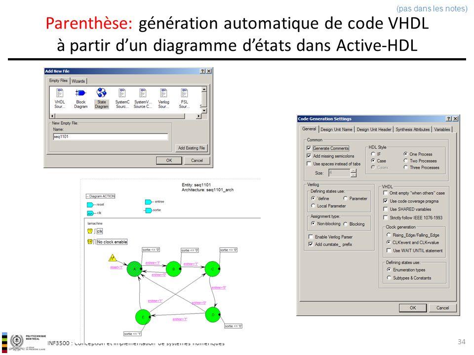 (pas dans les notes) Parenthèse: génération automatique de code VHDL à partir d'un diagramme d'états dans Active-HDL.