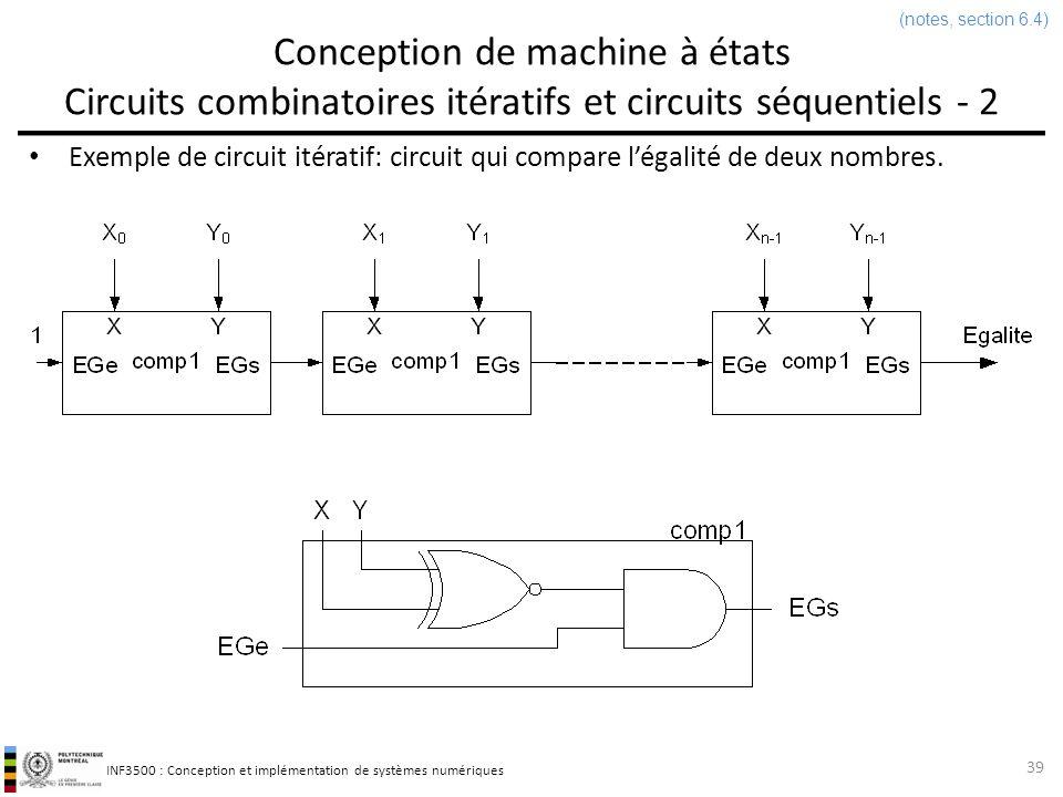 (notes, section 6.4) Conception de machine à états Circuits combinatoires itératifs et circuits séquentiels - 2.