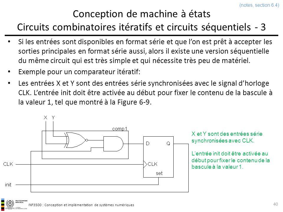 (notes, section 6.4) Conception de machine à états Circuits combinatoires itératifs et circuits séquentiels - 3.