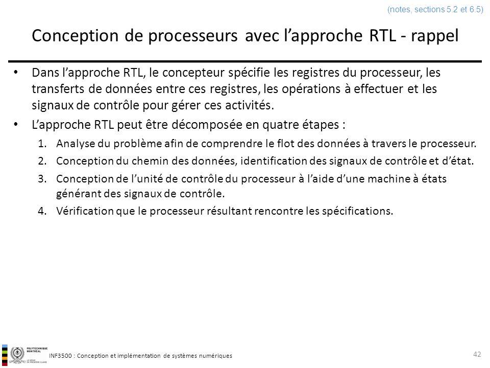 Conception de processeurs avec l'approche RTL - rappel