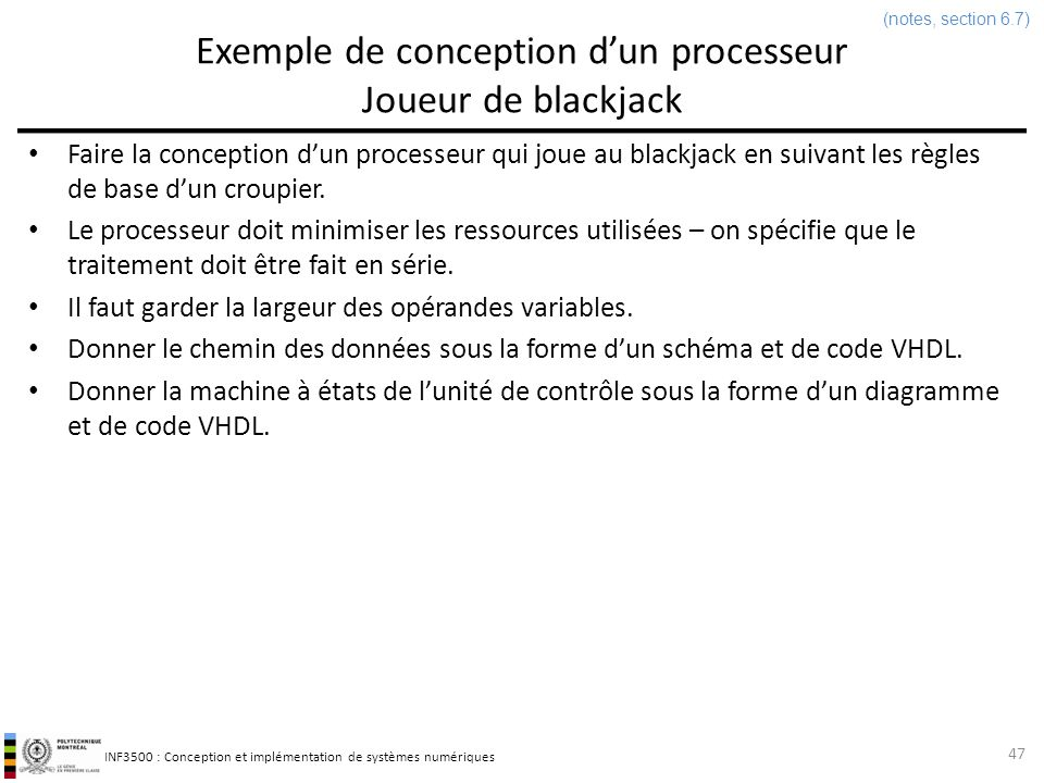 Exemple de conception d'un processeur Joueur de blackjack