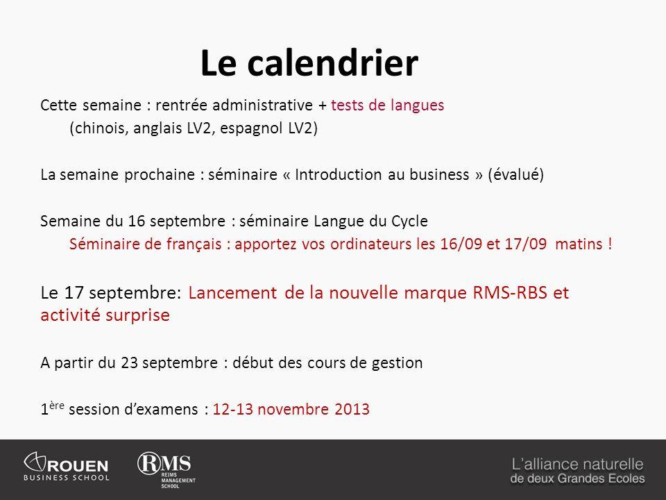 Le calendrier Cette semaine : rentrée administrative + tests de langues. (chinois, anglais LV2, espagnol LV2)