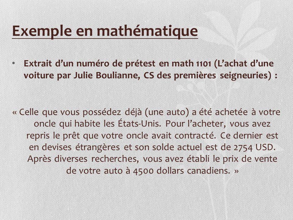 Exemple en mathématique