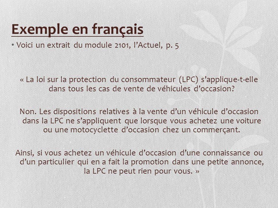 Exemple en français Voici un extrait du module 2101, l'Actuel, p. 5