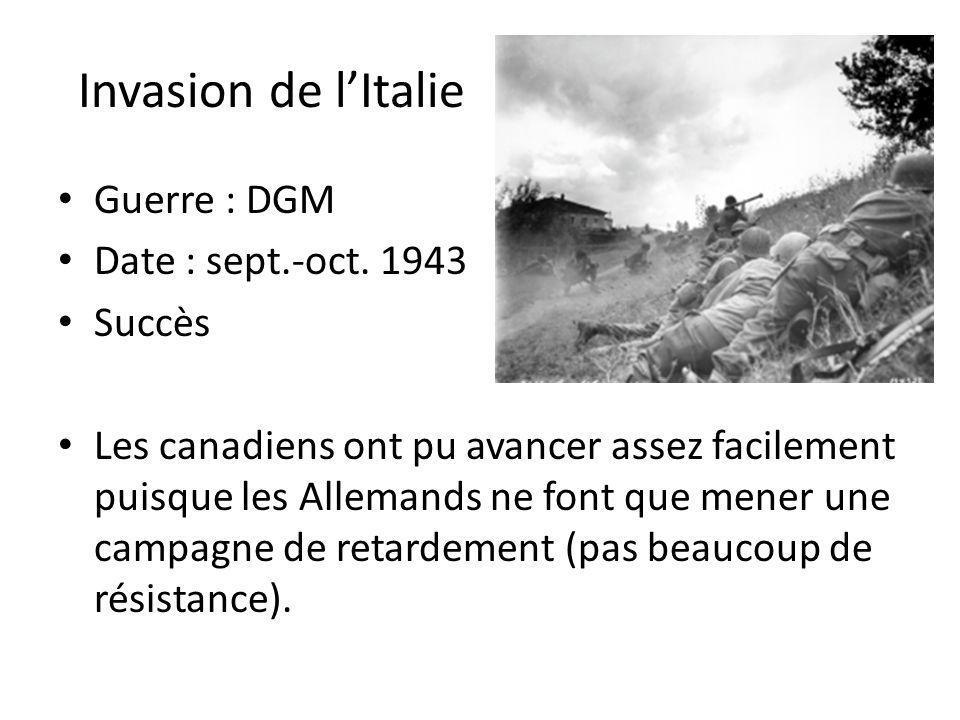 Invasion de l'Italie Guerre : DGM Date : sept.-oct. 1943 Succès