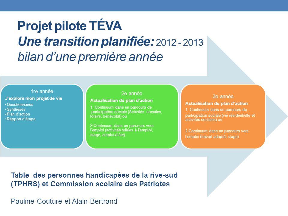 Projet pilote TÉVA Une transition planifiée: 2012 - 2013 bilan d'une première année