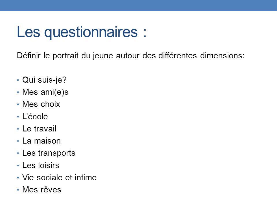 Les questionnaires : Définir le portrait du jeune autour des différentes dimensions: Qui suis-je Mes ami(e)s.