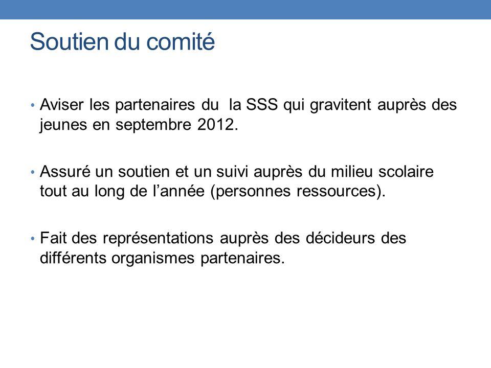 Soutien du comité Aviser les partenaires du la SSS qui gravitent auprès des jeunes en septembre 2012.