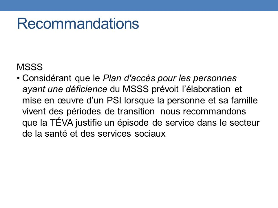 Recommandations MSSS.