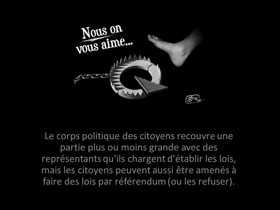 Le corps politique des citoyens recouvre une partie plus ou moins grande avec des représentants qu ils chargent d établir les lois, mais les citoyens peuvent aussi être amenés à faire des lois par référendum (ou les refuser).