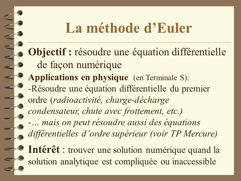 La méthode d'Euler Objectif : résoudre une équation différentielle de façon numérique. Applications en physique (en Terminale S):