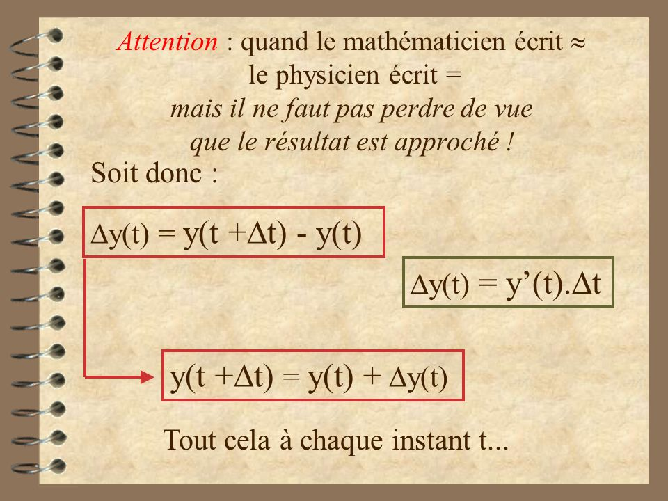 y(t +Dt) = y(t) + Dy(t) Soit donc : Dy(t) = y(t +Dt) - y(t)