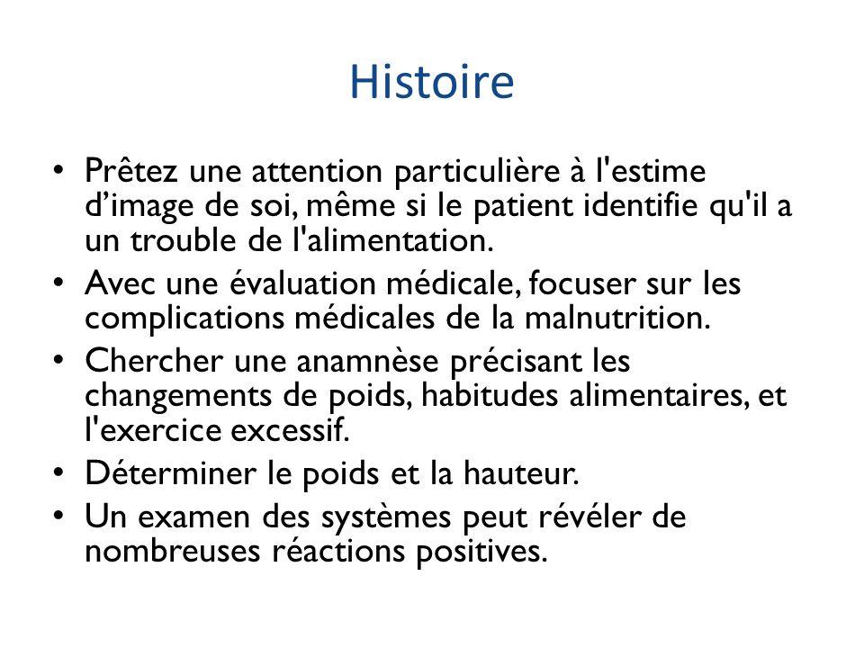 Histoire Prêtez une attention particulière à l estime d'image de soi, même si le patient identifie qu il a un trouble de l alimentation.