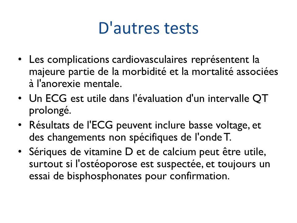 D autres tests Les complications cardiovasculaires représentent la majeure partie de la morbidité et la mortalité associées à l anorexie mentale.