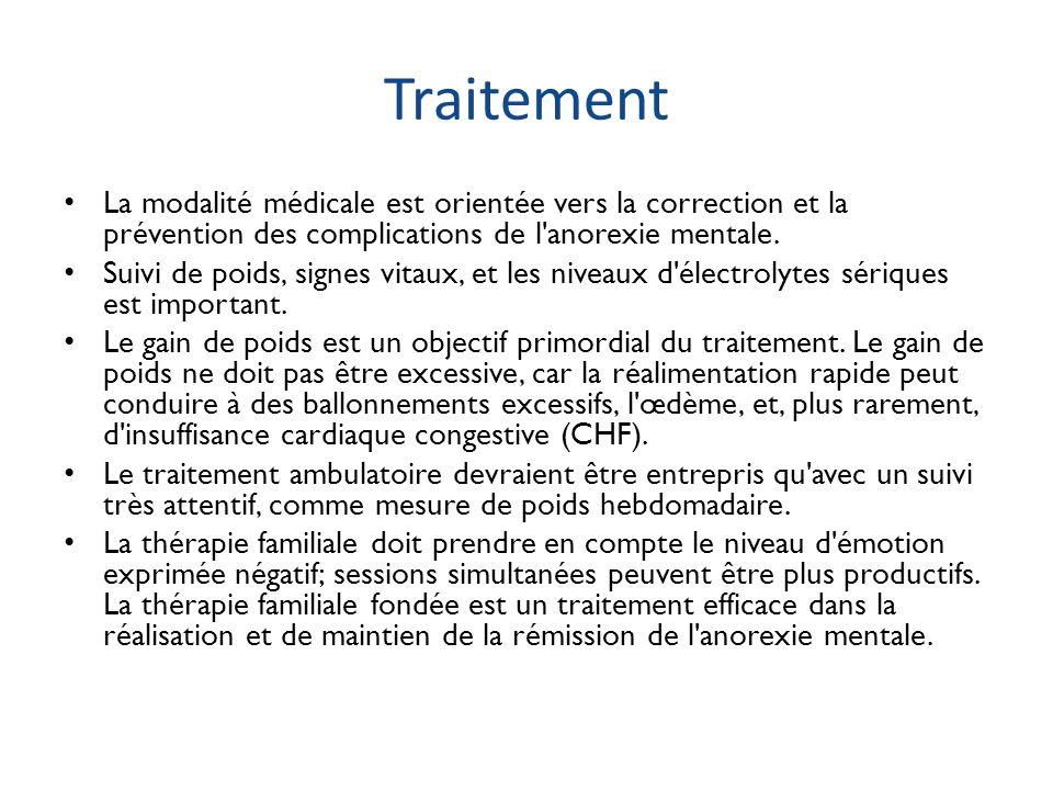 Traitement La modalité médicale est orientée vers la correction et la prévention des complications de l anorexie mentale.