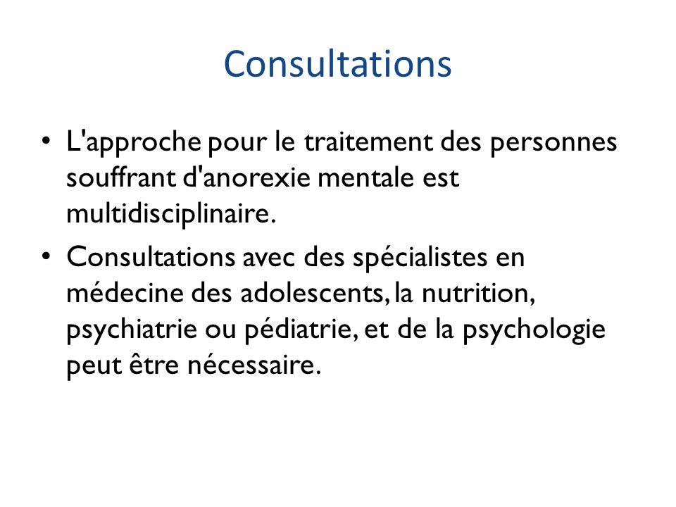 Consultations L approche pour le traitement des personnes souffrant d anorexie mentale est multidisciplinaire.