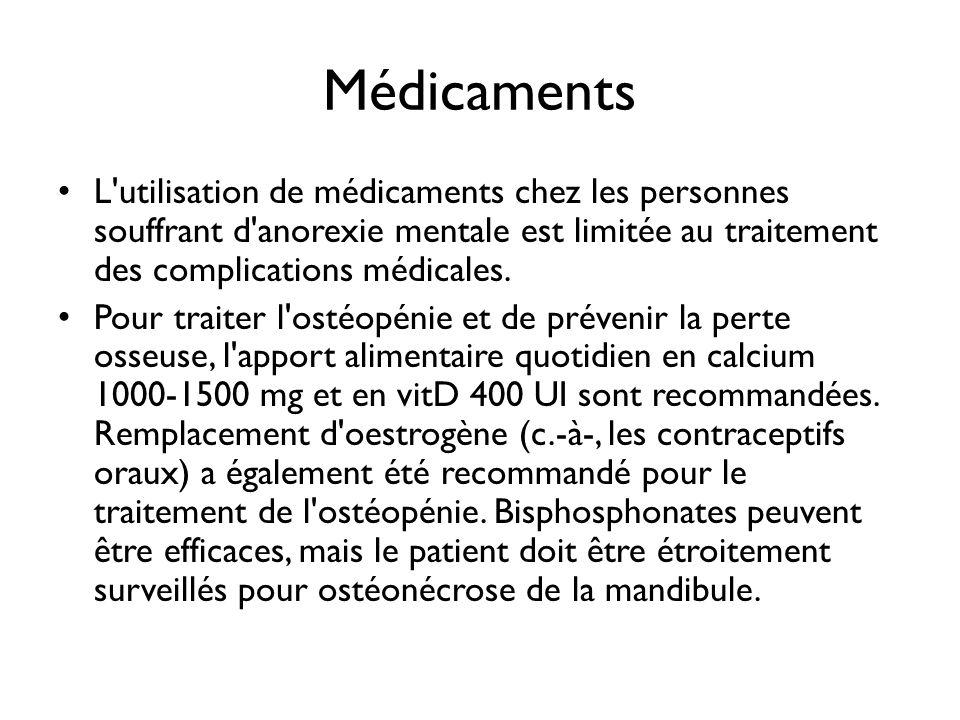 Médicaments L utilisation de médicaments chez les personnes souffrant d anorexie mentale est limitée au traitement des complications médicales.