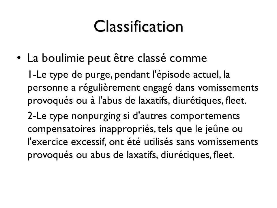 Classification La boulimie peut être classé comme