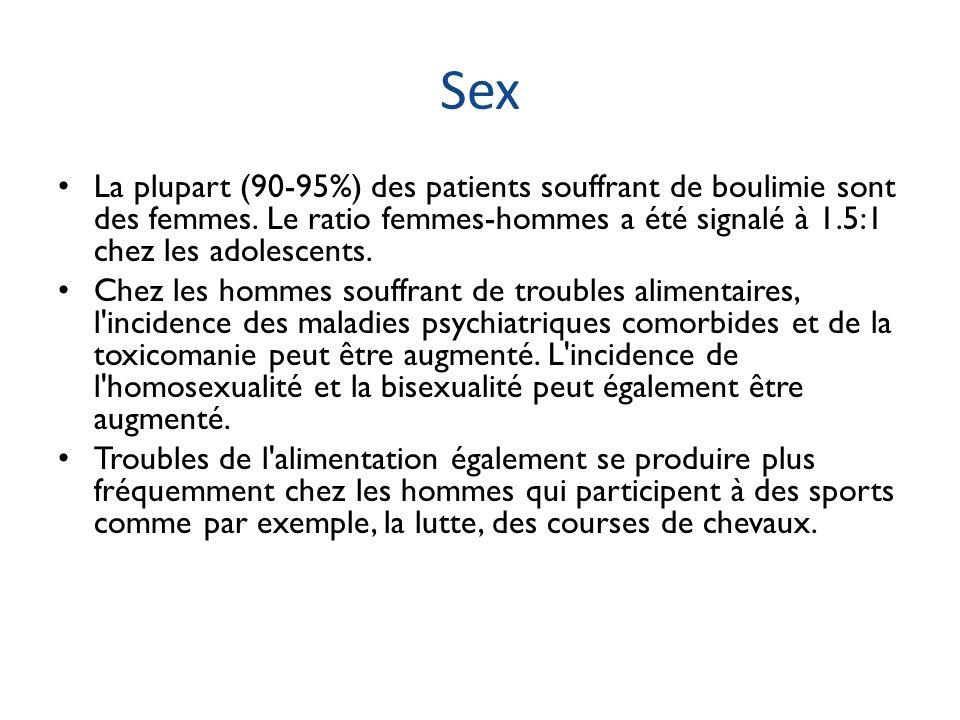 Sex La plupart (90-95%) des patients souffrant de boulimie sont des femmes. Le ratio femmes-hommes a été signalé à 1.5:1 chez les adolescents.