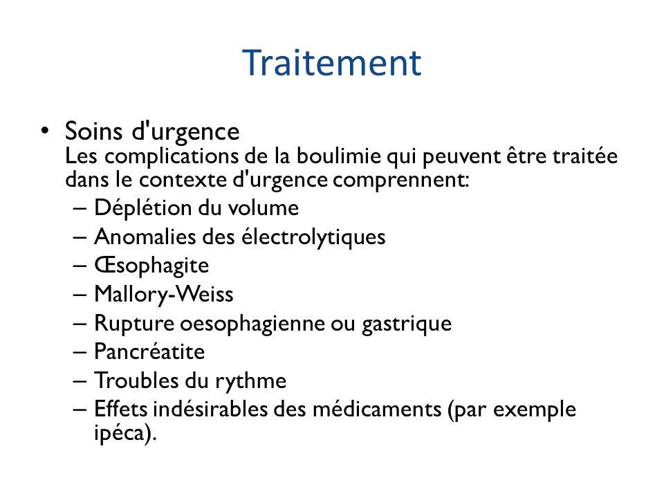 Traitement Soins d urgence Les complications de la boulimie qui peuvent être traitée dans le contexte d urgence comprennent: