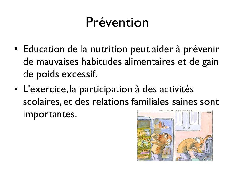 Prévention Education de la nutrition peut aider à prévenir de mauvaises habitudes alimentaires et de gain de poids excessif.