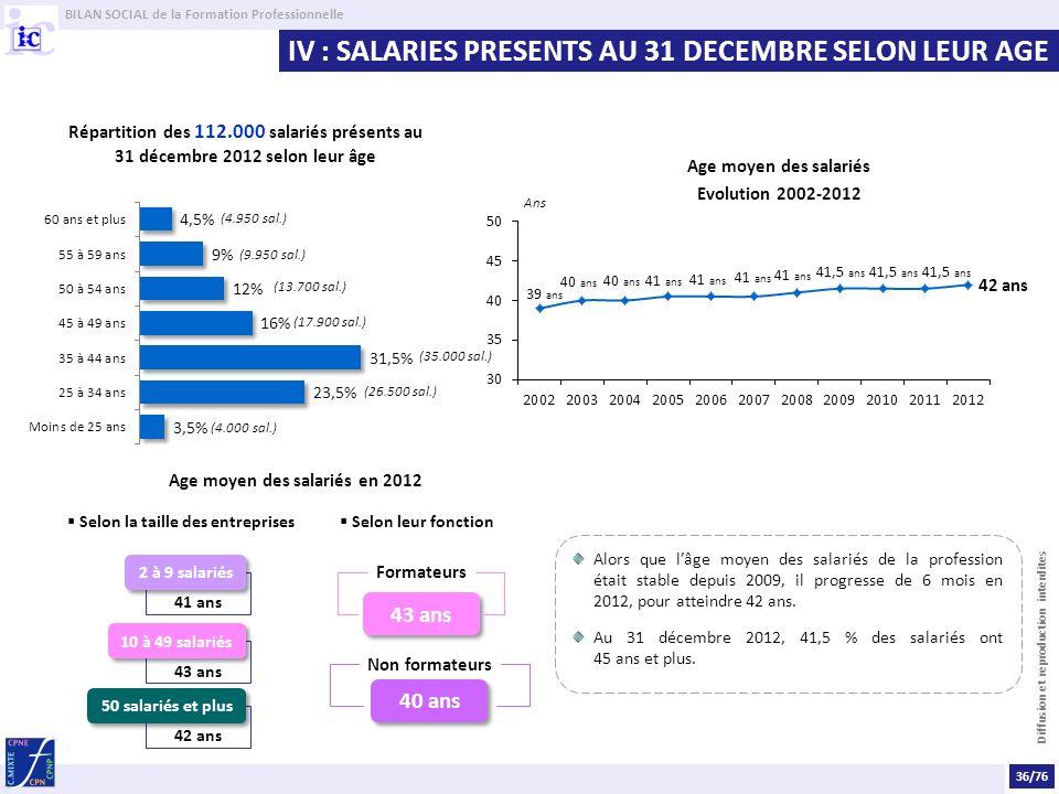 Age moyen des salariés en 2012 Selon la taille des entreprises