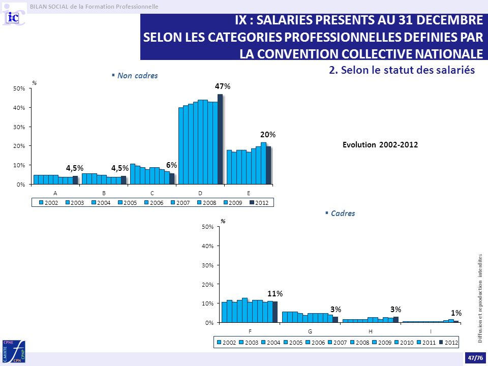 IX : SALARIES PRESENTS AU 31 DECEMBRE SELON LES CATEGORIES PROFESSIONNELLES DEFINIES PAR LA CONVENTION COLLECTIVE NATIONALE