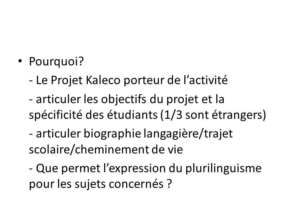 Pourquoi - Le Projet Kaleco porteur de l'activité. - articuler les objectifs du projet et la spécificité des étudiants (1/3 sont étrangers)