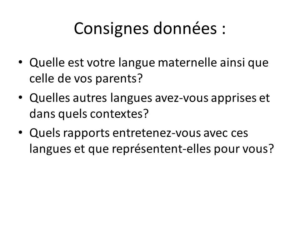 Consignes données : Quelle est votre langue maternelle ainsi que celle de vos parents
