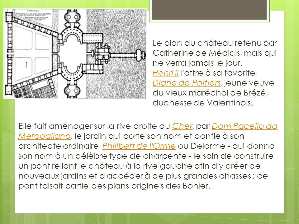 Le plan du château retenu par Catherine de Médicis, mais qui ne verra jamais le jour.
