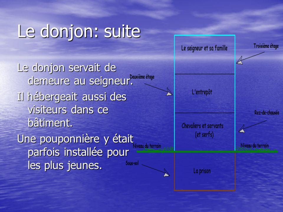 Le donjon: suite Le donjon servait de demeure au seigneur.