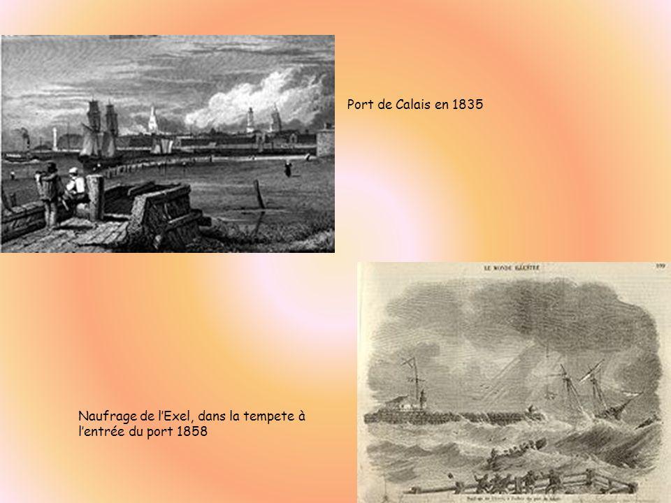 Port de Calais en 1835 Naufrage de l'Exel, dans la tempete à l'entrée du port 1858