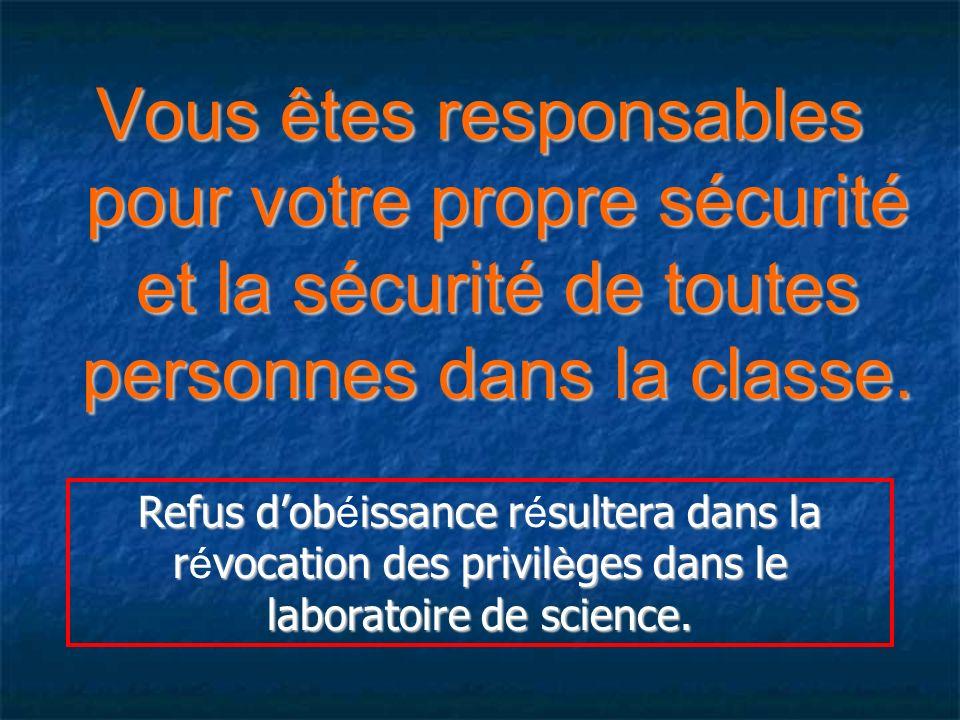 Vous êtes responsables pour votre propre sécurité et la sécurité de toutes personnes dans la classe.