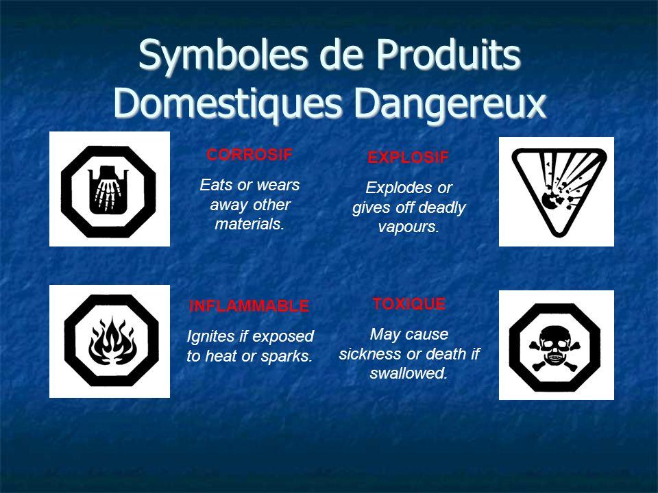Symboles de Produits Domestiques Dangereux