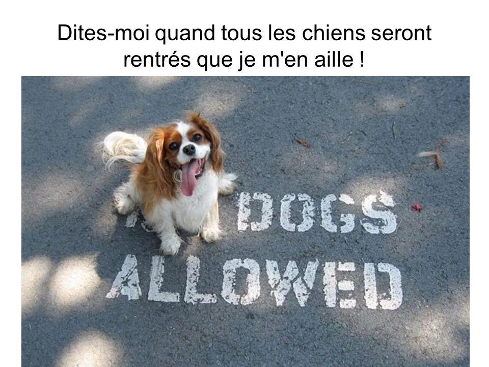 Dites-moi quand tous les chiens seront rentrés que je m en aille !