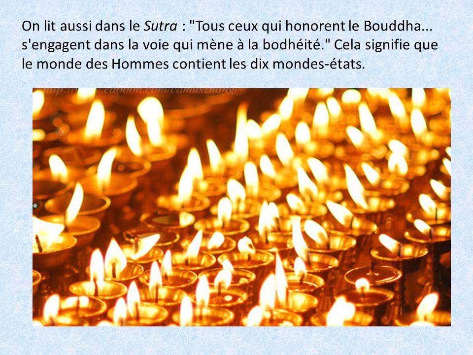 On lit aussi dans le Sutra : Tous ceux qui honorent le Bouddha