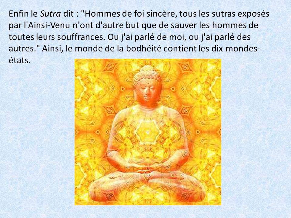 Enfin le Sutra dit : Hommes de foi sincère, tous les sutras exposés par l Ainsi-Venu n ont d autre but que de sauver les hommes de toutes leurs souffrances.