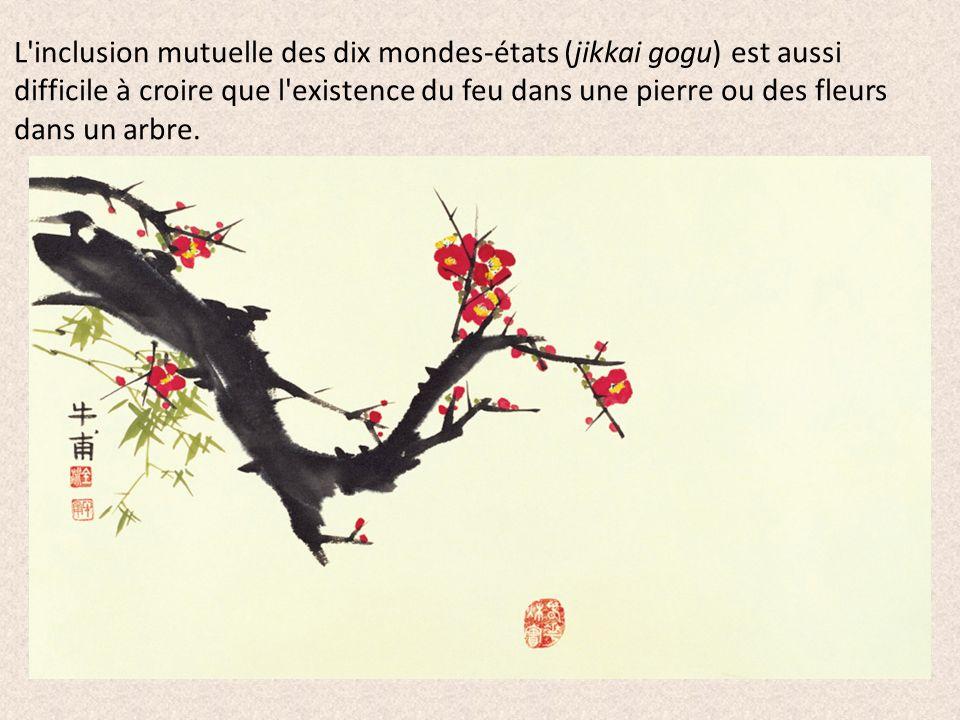 L inclusion mutuelle des dix mondes-états (jikkai gogu) est aussi difficile à croire que l existence du feu dans une pierre ou des fleurs dans un arbre.