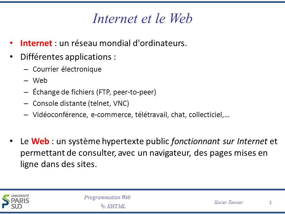 Internet et le Web Internet : un réseau mondial d ordinateurs.
