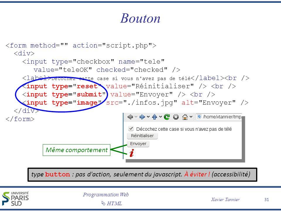 Bouton <form method= action= script.php > <div>