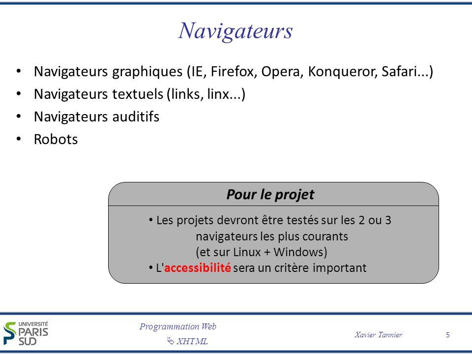 Navigateurs Navigateurs graphiques (IE, Firefox, Opera, Konqueror, Safari...) Navigateurs textuels (links, linx...)