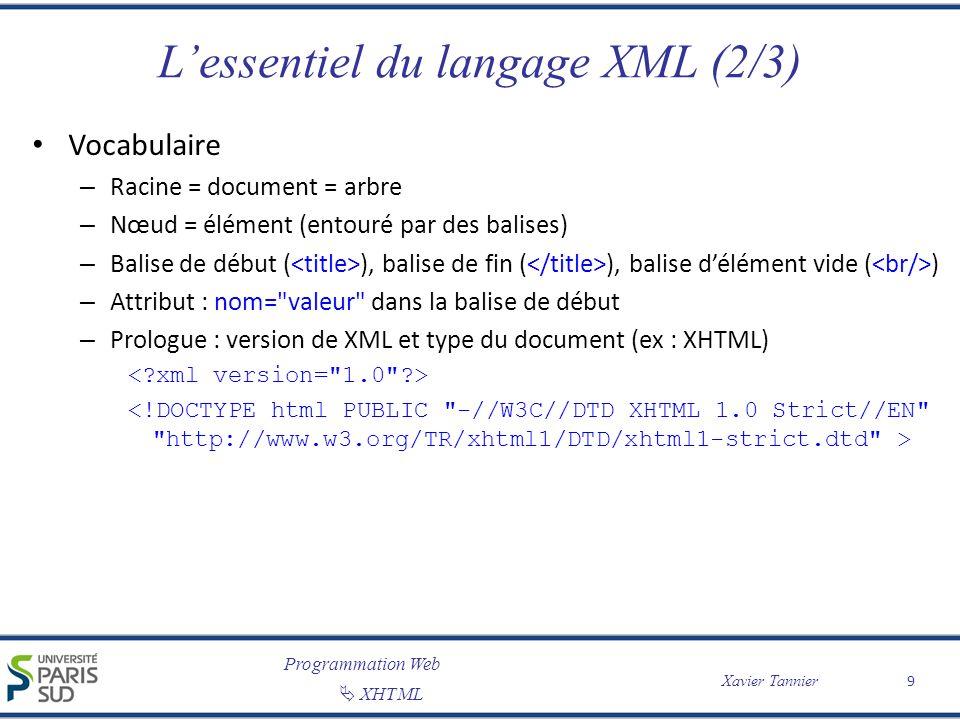 L'essentiel du langage XML (2/3)